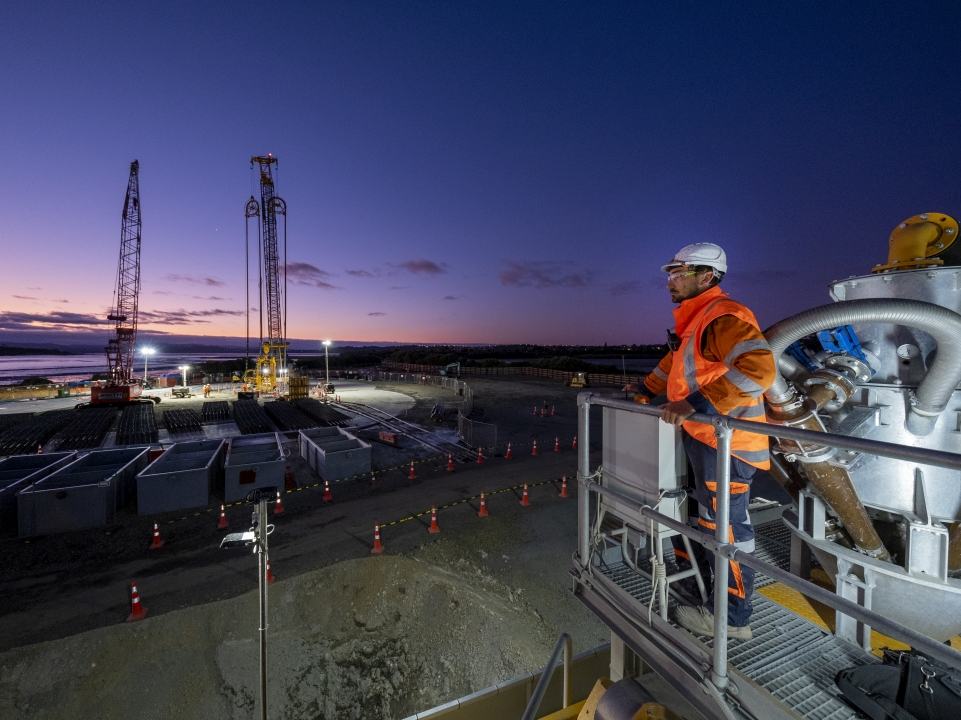 The Central Interceptor project at night - photo provided by Watercare