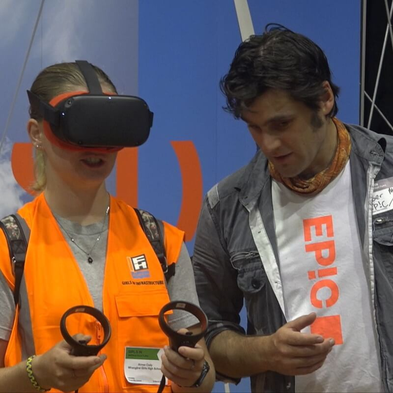 A Northland high school student learning how to operate an excavator in virtual reality