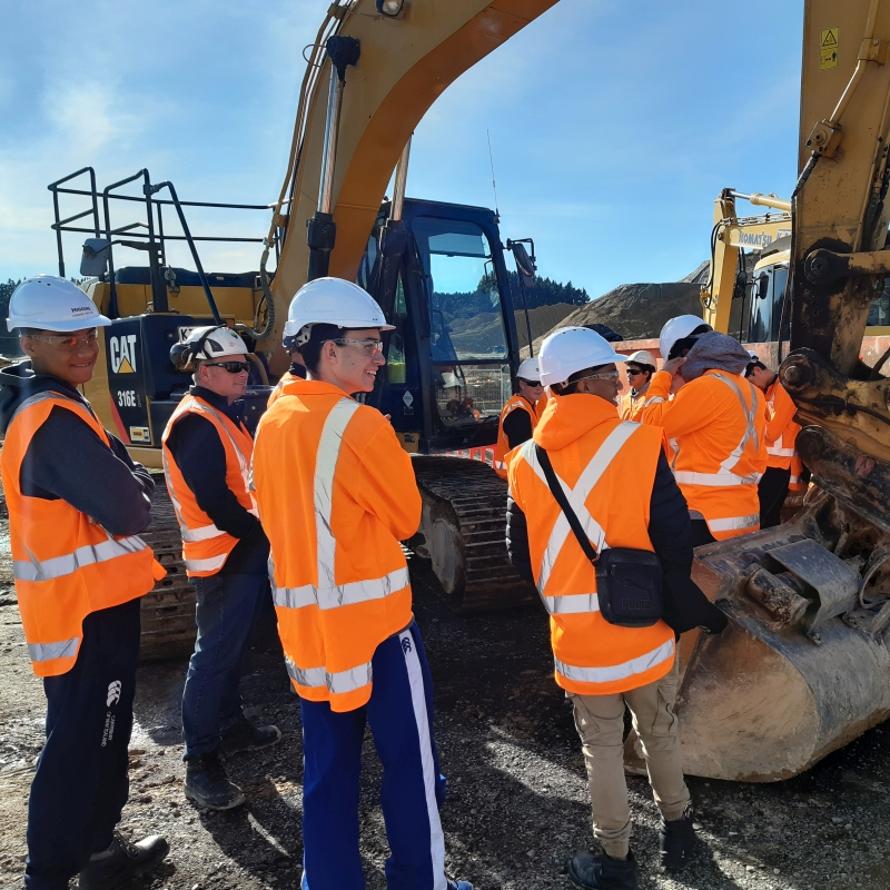 Students check out an excavator.